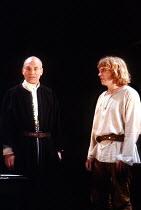 'HENRY IV/i' (Shakespeare)~l-r: Patrick Stewart (King Henry IV/Henry Bolingbroke), Gerard Murphy (Henry, Prince of Wales)~RSC/Barbican Theatre, London EC2    07/05/1982