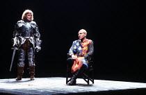 'HENRY IV/i' (Shakespeare)~l-r: Gerard Murphy (Henry, Prince of Wales), Patrick Stewart (King Henry IV/Henry Bolingbroke)~RSC/Barbican Theatre, London EC2    07/05/1982