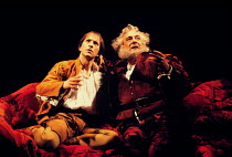 'HENRY IV part i' (Shakespeare)~l-r: Michael Maloney (Henry - Hal - Prince of Wales), Robert Stephens (Sir John Falstaff)~RSC / RST  1991