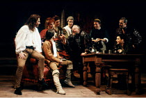 'HENRY IV pt.i' (Shakespeare)~in Eastcheap: Hal (seated) with Poins, Mistress Quickly, Bardolph & others~RSC/RST, Stratford-upon-Avon  1991