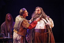HENRY IV part ii  by Shakespeare   director: Barbara Gaines,foreground, l-r: Jeffrey Carlson (Henry, Prince of Wales / ^Hal^), Greg Vinkler (Sir John Falstaff),Chicago Shakespeare Theater / RSC Swan T...