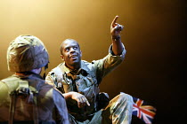 HENRY V by Shakespeare design: Tim Hatley lighting: Mark Henderson director: Nicholas Hytner ~Adrian Lester (King Henry V)~Olivier Theatre, National Theatre, London SE1  13/05/2003~(c) Donald Cooper/P...