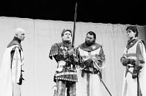 HENRY V   by Shakespeare   director: Adrian Noble,l-r: Andrew Jarvis (Earl of Cambridge), Kenneth Branagh (King Henry V), Arthur Kohn (Sir Thomas Grey), Stephen Simms (Lord Scroop),Royal Shakespeare C...
