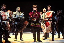 HENRY V   by Shakespeare   design: Bob Crowley   lighting: Robert Bryan   director: Adrian Noble  ~centre: Kenneth Branagh (Henry)~RSC/Stratford  1984