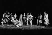 'HENRY VI part iii' (Shakespeare)~rear, 4th from left: Emrys James (York), 5th: Helen Mirren (Queen Margaret), 6th: Alan Howard (Henry VI)~RSC/Aldwych  15/04/78