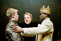 'HENRY VI part iii' (Shakespeare)~l-r: Neil Madden (Edward, Prince of Wales), Fiona Bell (Queen Margaret), David Oyelowo (King Henry VI)~RSC/Swan Theatre, Stratford-upon-Avon  13/12/2000
