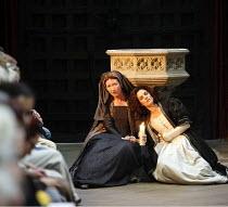 HENRY VIII  by Shakespeare  design: Ellen Cairns  lighting: Judith Greenwood  director: Gregory Thompson <br>  l-r: Amy Finegan (Patience), Corinne Jaber (Katherine of Aragon) AandBC in association...