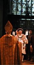 HENRY VIII  by Shakespeare  design: Ellen Cairns  lighting: Judith Greenwood  director: Gregory Thompson  back to camera: Jem Wall (Cranmer)  centre: Antony Byrne (King Henry VIII) AandBC in associa...