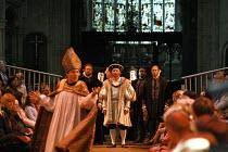 HENRY VIII  by Shakespeare  design: Ellen Cairns  lighting: Judith Greenwood  director: Gregory Thompson  front left: Jem Wall (Cranmer)   rear centre, l-r: Ed Woodall (Duke of Suffolk), Antony Byrne...