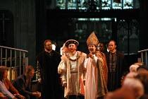 HENRY VIII  by Shakespeare  design: Ellen Cairns  lighting: Judith Greenwood  director: Gregory Thompson <br>  l-r: Ed Woodall (Duke of Suffolk), Antony Byrne (King Henry VIII), Jem Wall (Cranmer), D...