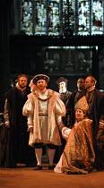 HENRY VIII  by Shakespeare  design: Ellen Cairns  lighting: Judith Greenwood  director: Gregory Thompson <br>  front, l-r: Ed Woodall (Duke of Suffolk), Antony Byrne (King Henry VIII), ,Jimmy Akingbo...