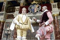 RICHARD II  by Shakespeare  Master of Properties (designer): Jenny Tiramani  Master of Fights: John Waller  Master of Play (director): Tim Carroll  ~III/ii - l-r: Mark Rylance (Richard II), Chu Omamba...
