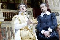 RICHARD II  by Shakespeare  Master of Properties (designer): Jenny Tiramani  Master of Fights: John Waller  Master of Play (director): Tim Carroll  ~l-r: Mark Rylance (Richard II), Liam Brennan (Bolin...
