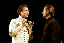'RICHARD II' (Shakespeare),Richard taunts Bolingbroke with the crown - l-r: Ralph Fiennes (King Richard II), Linus Roache (Henry Bolingbroke),Almeida Theatre Company/Gainsborough Studios, London N1  1...