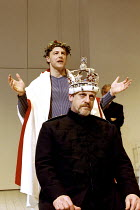 RICHARD II  by Shakespeare  design: Sue Wilmington with David Fielding  lighting: Simon Kemp  fights: Terry King  director: Steven Pimlott ~Richard (rear) crowns Bolingbroke: Samuel West (Richard II),...