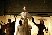 RICHARD II   by Shakespeare design: Hildegard Bechtler lighting: Peter Mumford director: Deborah Warner~centre: Fiona Shaw (Richard II)~Cottesloe Theatre, National Theatre, London SE1  02/06/1995
