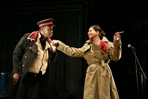THE CAUCASIAN CHALK CIRLCE   by Bertolt Brecht   director: Sean Holmes <br>,Mo Sesay (Fat Prince), Thusitha Jayasundera (The Governor^s Wife),Cottesloe Theatre / National Theatre, London SE1     09/03...