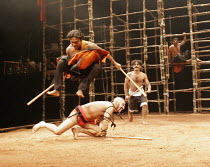 A MIDSUMMER NIGHT'S DREAM   by Shakespeare - director: Tim Supple <br>,leaping: Tapan Das (Fairy)   crouching: Ajay Kumar (Puck),Dash Arts production / The Roundhouse, London NW1             13/03/200...