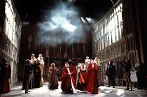 RICHARD III by Shakespeare design: William Dudley lighting: Leo Leibovici director: Bill Alexander <br> IV/ii - the coronation - centre: Antony Sher (Richard), Penny Downie (Lady Anne) Royal Shakesp...