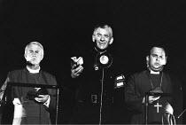 RICHARD III  by Shakespeare  design: Bob Crowley  lighting: Jean Kalman  choreography: Jane Gibson  director: Richard Eyre ~centre: Ian McKellen (Richard) with Bishops, ~Lyttelton Theatre, National Th...