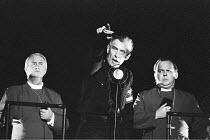 RICHARD III  by Shakespeare  design: Bob Crowley  lighting: Jean Kalman  choreography: Jane Gibson  director: Richard Eyre ~III/vii - (centre) Ian McKellen (Richard III) with Bishops~Lyttelton Theatre...