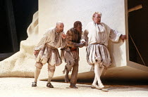 'THE TEMPEST' (Shakespeare - director: Jonathan Miller),l-r: Alexei Sayle (Trinculo), Rudolph Walker (Caliban), Peter Bayliss (Stephano) ,Old Vic Theatre, London SE1                        11/10/1988...