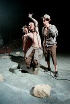 THE TEMPEST  by Shakespeare  designer: Robert Innes Hopkins  lighting: Peter Mumford  director: Jude Kelly ~l-r: Claudie Blakley (Miranda), Timothy Walker (Caliban), Ian McKellen (Prospero)~West Yorks...
