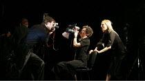 ATTEMPTS ON HER LIFE   by Martin Crimp   director: Katie Mitchell <br>,l-r: Jonah Russell, Helena Lymbery, Dina Korzun,Lyttelton Theatre / National Theatre, London SE1                        14/03/200...