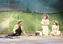 THE CHERRY ORCHARD   by Chekhov   director: Jonathan Miller <br>,l-r: Peter Eyre (Gayev), Joanna Lumley (Madame Ranevskaya), Annabel Scholes (Anya),Crucible Theatre / Sheffield, England              2...