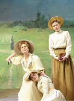 THE CHERRY ORCHARD   by Chekhov   director: Jonathan Miller <br>,l-r: Joanna Lumley (Madame Ranevskaya), Annabel Scholes (Anya), Lisa Dillon (Varya),Crucible Theatre / Sheffield, England...