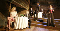 THE TAMING OF THE SHREW   by Shakespeare   director: Nick Hutchison <br>,front, l-r: Siobhan Hewlett (Bianca), Charles Aitken (Lucentio), Oliver Chris (Petruchio), Rachael Stirling (Katherine),Wilton^...