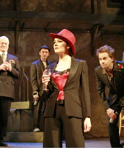 THE TAMING OF THE SHREW   by Shakespeare   director: Nick Hutchison <br>,centre: Rachael Stirling (Katherine) ,with (l-r) Philip Voss (Baptista Minola), Adrian Schiller (Grumio), Peter Bramhill (Trani...