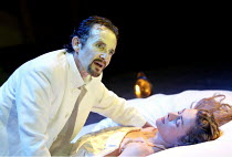 CYMBELINE  by Shakespeare  design: Rae Smith  lighting: Chris Davey  movement: Liz Ranken  director: Dominic Cooke <br>~Anton Lesser (Iachimo), Emma Fielding (Imogen)~Royal Shakespeare Company (RSC),...