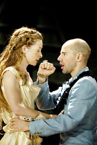 CYMBELINE  by Shakespeare  design: Rae Smith  lighting: Chris Davey  movement: Liz Ranken  director: Dominic Cooke <br>~Emma Fielding (Imogen), Daniel Evans (Posthumus Leonatus)~Royal Shakespeare Comp...