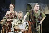 'CYMBELINE' (Shakespeare - director: Michael Bogdanov)~l-r: Helen Griffin (The Queen), John Labanowski (Cymbeline), Brendan Charleson (Cloten)~Ludlow Castle / England    26/06/2004