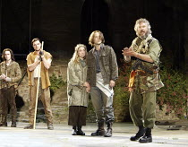 'CYMBELINE' (Shakespeare - director: Michael Bogdanov)~l-r: Gareth Pierce (Arviragus), Bradley Freegard (Guiderius), Nia Roberts (Imogen), Ross Walton (Posthumus), John Labanowski (Cymbeline)~Ludlow C...