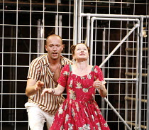 CYMBELINE   after Shakespeare   adapted and directed by Emma Rice   writer: Carl Grose,Robert Luckay (Iachimo), Hayley Carmichael (Imogen),Kneehigh Theatre for the RSC's ^Complete Works Festival' - Ap...