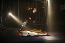 CYMBELINE   after Shakespeare   adapted and directed by Emma Rice   writer: Carl Grose,the King orchestrates a battle: Mike Shepherd (Cymbeline),Kneehigh Theatre for the RSC's ^Complete Works Festival...