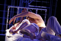 CYMBELINE   after Shakespeare   adapted and directed by Emma Rice   writer: Carl Grose,Iachimo tries to steal bracelet from sleeping Imogen: Robert Luckay (Iachimo), Hayley Carmichael (Imogen),Kneehig...