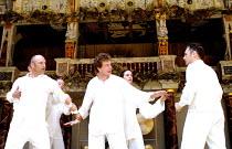 CYMBELINE  by Shakespeare  design: Jenny Tiramani  director: Mike Alfreds <br>~front, l-r: John Ramm (Iachimo), Fergus O'Donnell, Mark Rylance (Posthumus)~Shakespeare's Globe, London SE1  10/07/2001 ~...