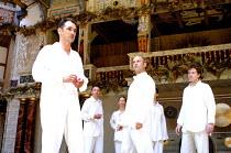 CYMBELINE  by Shakespeare  design: Jenny Tiramani  director: Mike Alfreds <br>~front, l-r: Mark Rylance (Posthumus), John Ramm (Iachimo), Fergus O'Donnell,~Shakespeare's Globe, London SE1  10/07/2001...