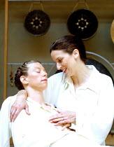 CYMBELINE  by Shakespeare  design: Jenny Tiramani  director: Mike Alfreds <br>~l-r: Jane Arnfield (Imogen), Abigail Thaw (Cadwal)~Shakespeare's Globe, London SE1  10/07/2001 ~(c) Donald Cooper/Photost...