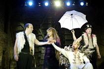 CYMBELINE  by Shakespeare  design: Rae Smith  lighting: Chris Davey  movement: Liz Ranken  director: Dominic Cooke <br>~l-r: Paul Chahidi (Cloten), Ishia Bennison (The Queen), David Horovitch (Cymbeli...