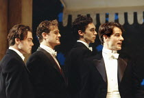 'LOVE'S LABOUR'S LOST' (Shakespeare - director: Ian Judge),l-r: Robert Portal (Dumaine), Owen Teale (King of Navarre), Guy Henry (Longaville), Jeremy Northam (Berowne),Royal Shakespeare Company / Roya...