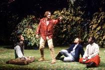 'LOVE'S LABOUR'S LOST' (Shakespeare)~l-r: Bernard Wright (Longaville), Ralph Fiennes (Berowne), Simon Russell Beale (King of Navarre), Paterson Joseph (Dumaine)~RSC / Royal Shakespeare Theatre, Stratf...