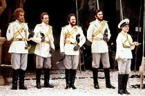 'LOVE'S LABOUR'S LOST' (Shakespeare) the Lords in disguise, l-r: Roger Rees (Berowne), Jim Hooper (Dumain), Kenneth Branagh (King of Navarre), James Simmons (Longaville) RSC / Barbican Theatre, Lond...