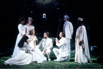 'LOVE'S LABOUR'S LOST' (Shakespeare)~front centre, l-r: Carol Royle (Princess of France), Simon Russell Beale (King of Navarre), Ralph Fiennes (Berowne), ~RSC / Royal Shakespeare Theatre, Stratford-up...