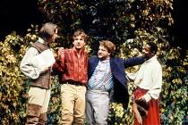 'LOVE'S LABOUR'S LOST' (Shakespeare)~l-r: Bernard Wright (Longaville), Ralph Fiennes (Berowne), Simon Russell Beale (King of Navarre), Paterson Joseph (Dumaine)~RSC / Barbican Theatre, London...