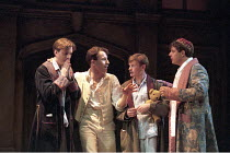 'LOVE'S LABOUR'S LOST' (Shakespeare - director: Ian Judge),l-r: Bernard Wright (Longaville), Richard Garnett (Berowne), Roger Moss (Dumaine), Philip Quast (King of Navarre),Royal Shakespeare Company /...