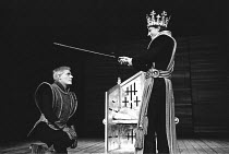 KING JOHN  by Shakespeare  director: Buzz Goodbody <br>~l-r: Norman Rodway (Philip the Bastard), Patrick Stewart (King John) ~Royal Shakespeare Company (RSC) / Theatre-go-round  1970